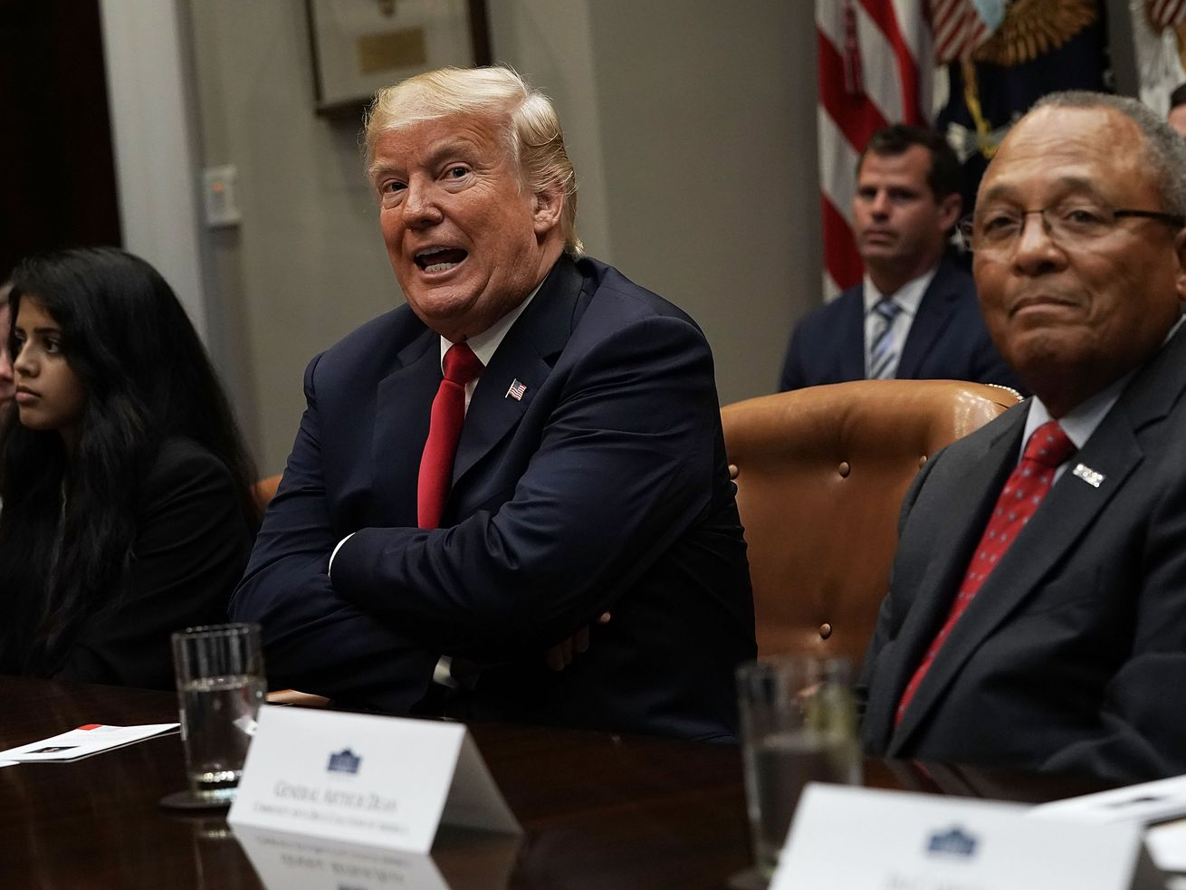 "Donald Trump at a White House event on promoting drug-free communities on August 29. When asked by reporters during the event about the federal government's response to Hurricane Maria in Puerto Rico, he said they'd done a ""fantastic"" job."