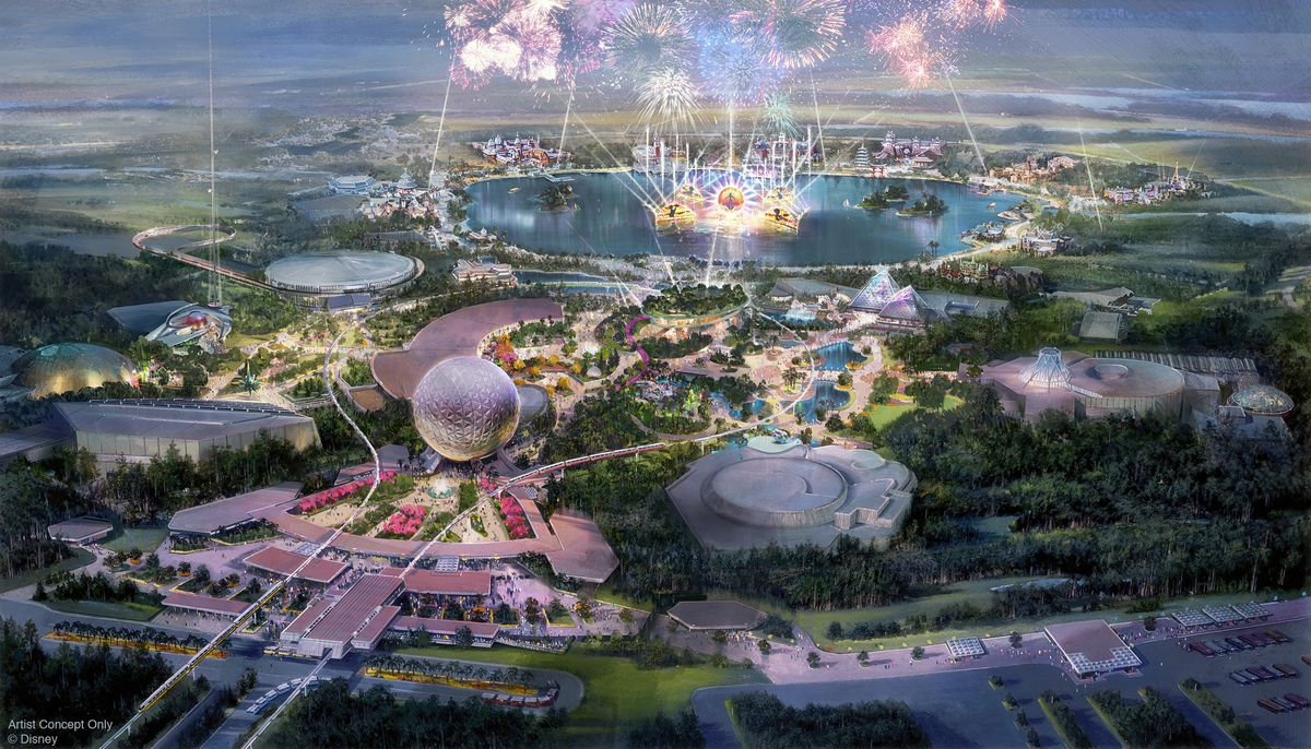 Concept art of the reimagined Epcot park, set to open in 2021