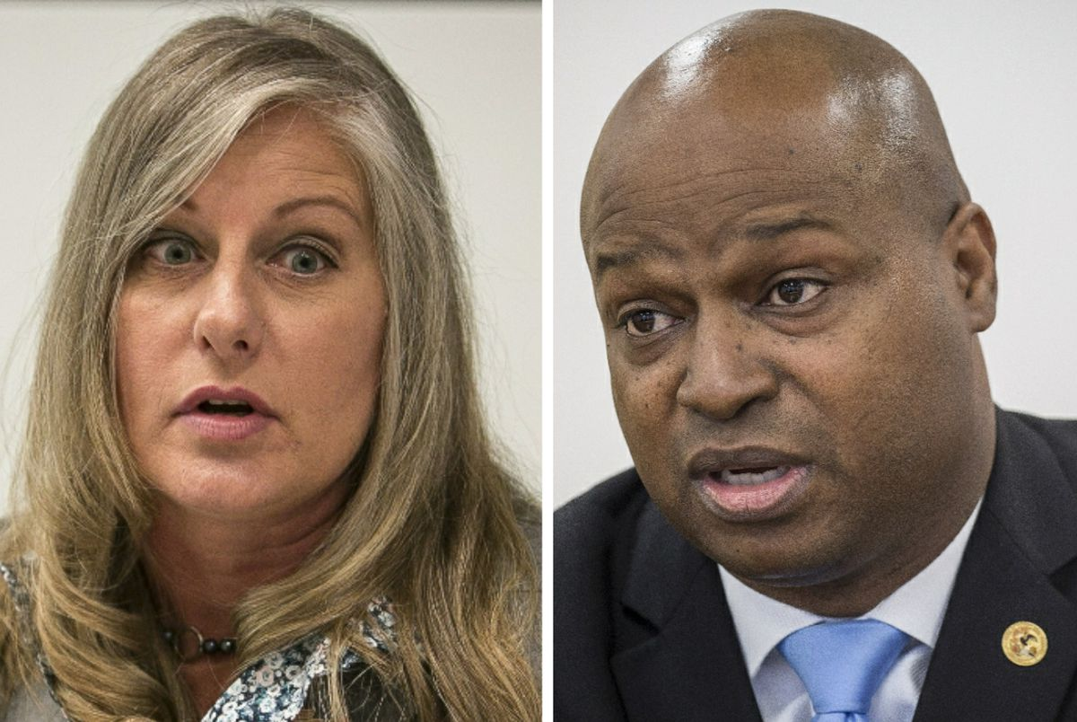 """State Rep. Stephanie A. Kifowit, left; House Speaker Emanuel """"Chris"""" Welch, right."""