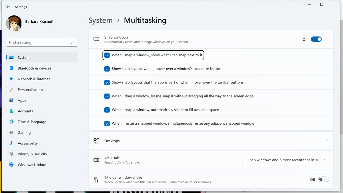 Go to the multitasking section in your setup to tweak your snap layout features.