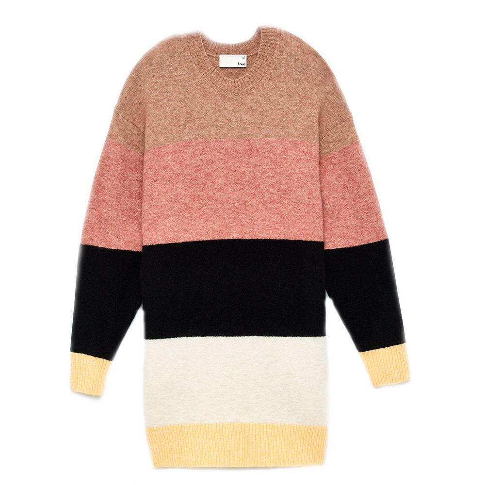 Multi-colored stripe sweater dress.