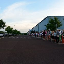The line was still wrapped around the building when we left at 6am.