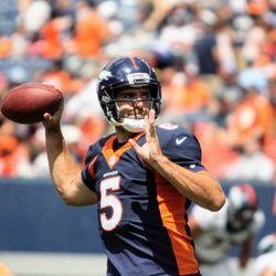 Newly acquired Broncos quarterback Joe Flacco reaches back to throw a pass at training camp.