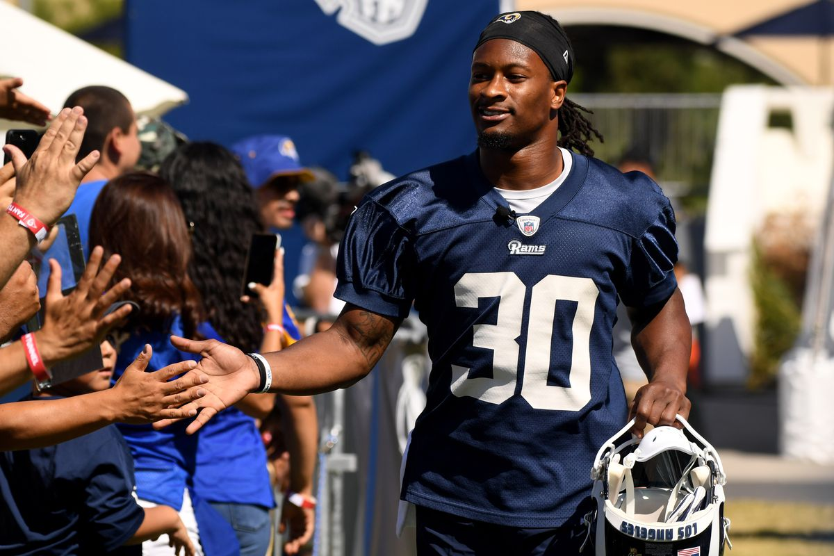 Los Angeles Rams RB Todd Gurley enters the field during training camp on the campus of UC Irvine on Saturday, Jul. 27, 2019.