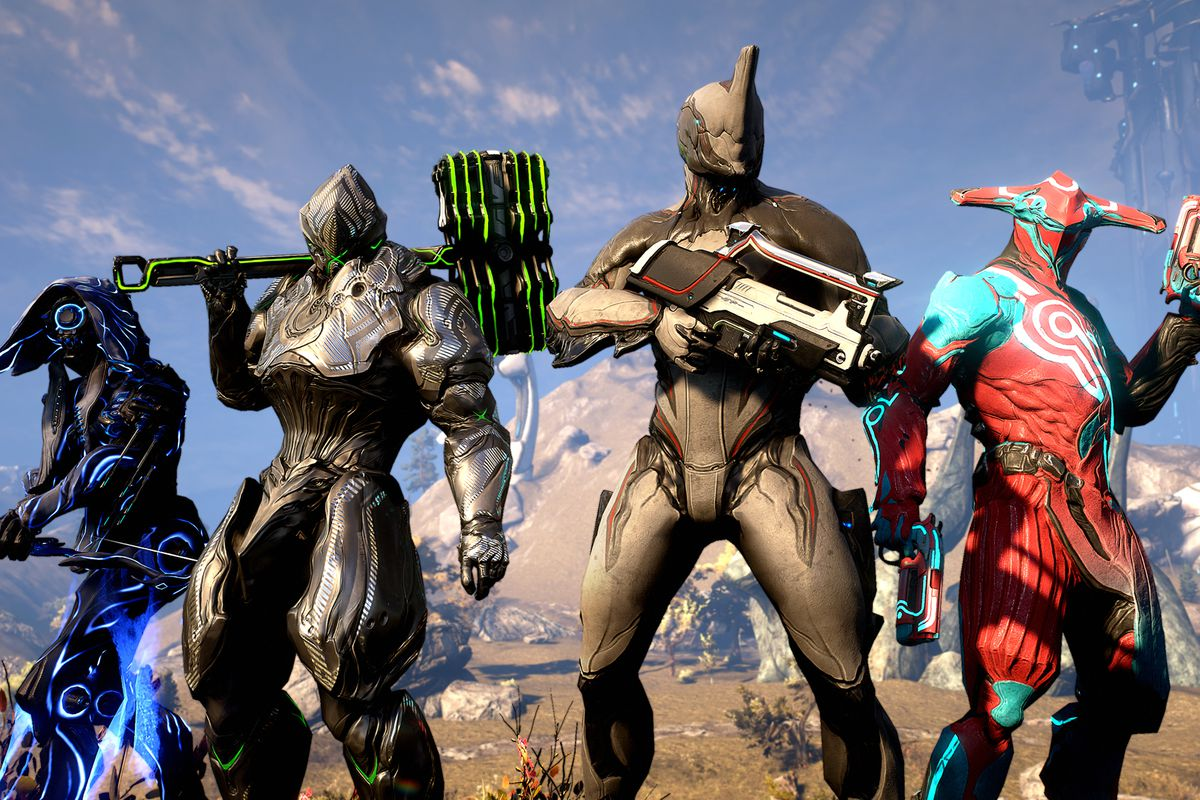 Warframe - four Warframes, mechanical humanoid warriors, stand together as a squad.
