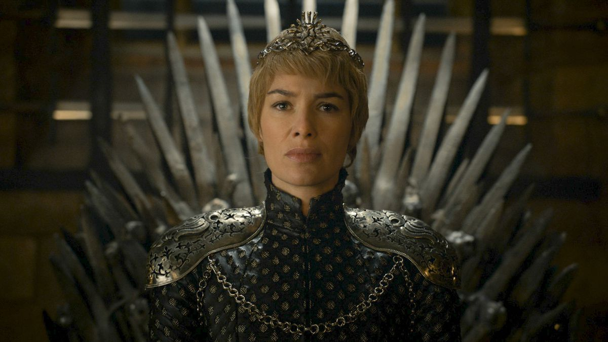 Cersei Lannister sitting on the Iron Throne.