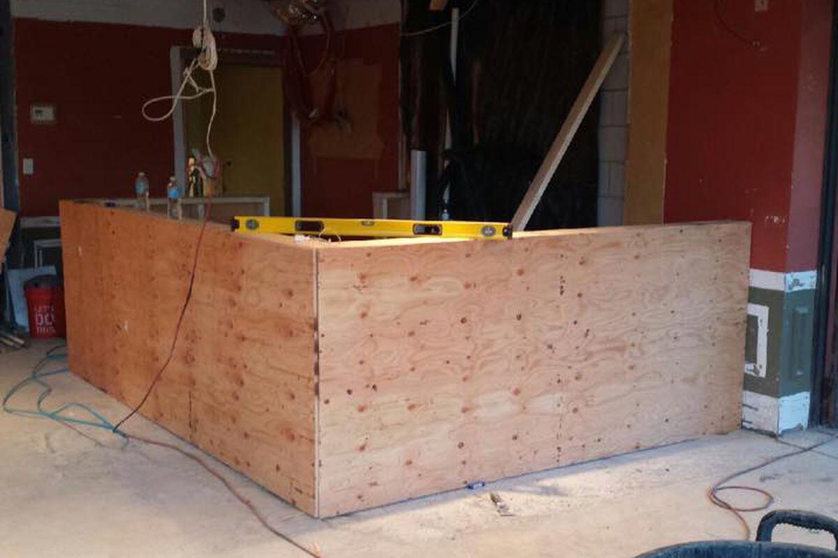 Cielo Mexican Restaurant's bar under construction last month