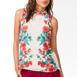 """<b>Forever 21</b> Mirrored Floral Chiffon Top, <a href=""""http://www.forever21.com/Product/Product.aspx?BR=f21&Category=whatsnew_app&ProductID=2040496009&VariantID=#"""">$17.80</a>"""