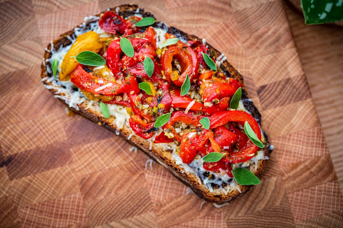 Marinated peppers and gruyere on marble rye toast from Lost Sock Coffee