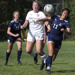 Action in the Murray-Skyline girls soccer game in Salt Lake City on Tuesday, Sept. 17, 2019. Skyline won the Region 6 contest, 3-0.
