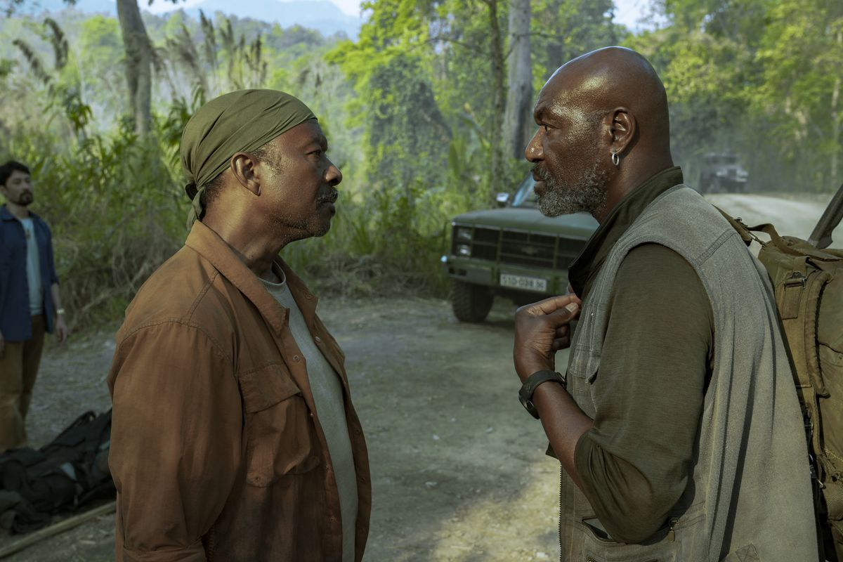 Clarke Peters and Delroy Lindo confront each other in Spike Lee's Da 5 Bloods