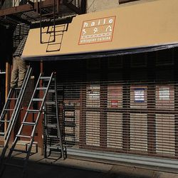 """Signage up at Haile Ethiopian Cuisine at 182 Avenue B. [Photo: <a href=""""http://eastvillage.thelocal.nytimes.com/2013/04/03/first-sign-of-ethiopian-bistro-on-avenue-b/"""">The Local</a>]"""