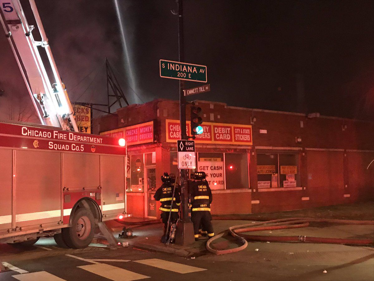 Firefighters put out a fire in a commercial building Saturday night in the 200 block of East 71st Street. | Chicago Fire Media