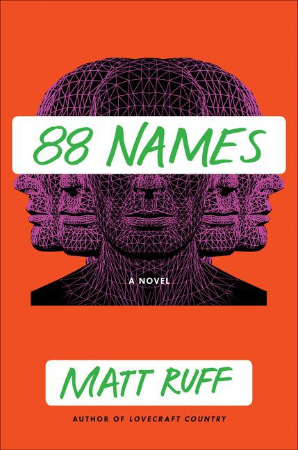 a series of vector faces on the cover of 88 Names by Matt Ruff
