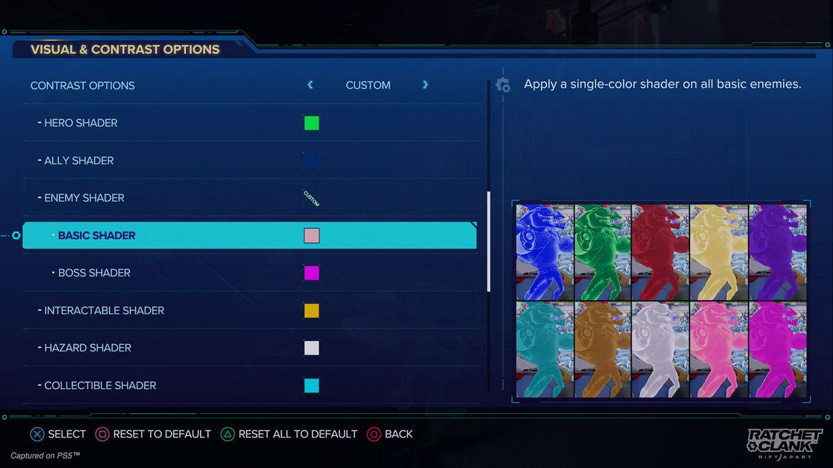 Ratchet & Clank: Rift Apart visual options