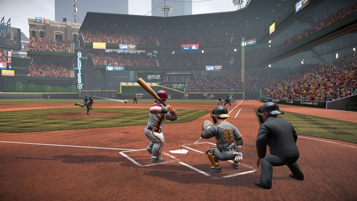 a view from behind home plate, on the left side looking down the right-field line, of a pitch in midflight in Super Mega Baseball 3