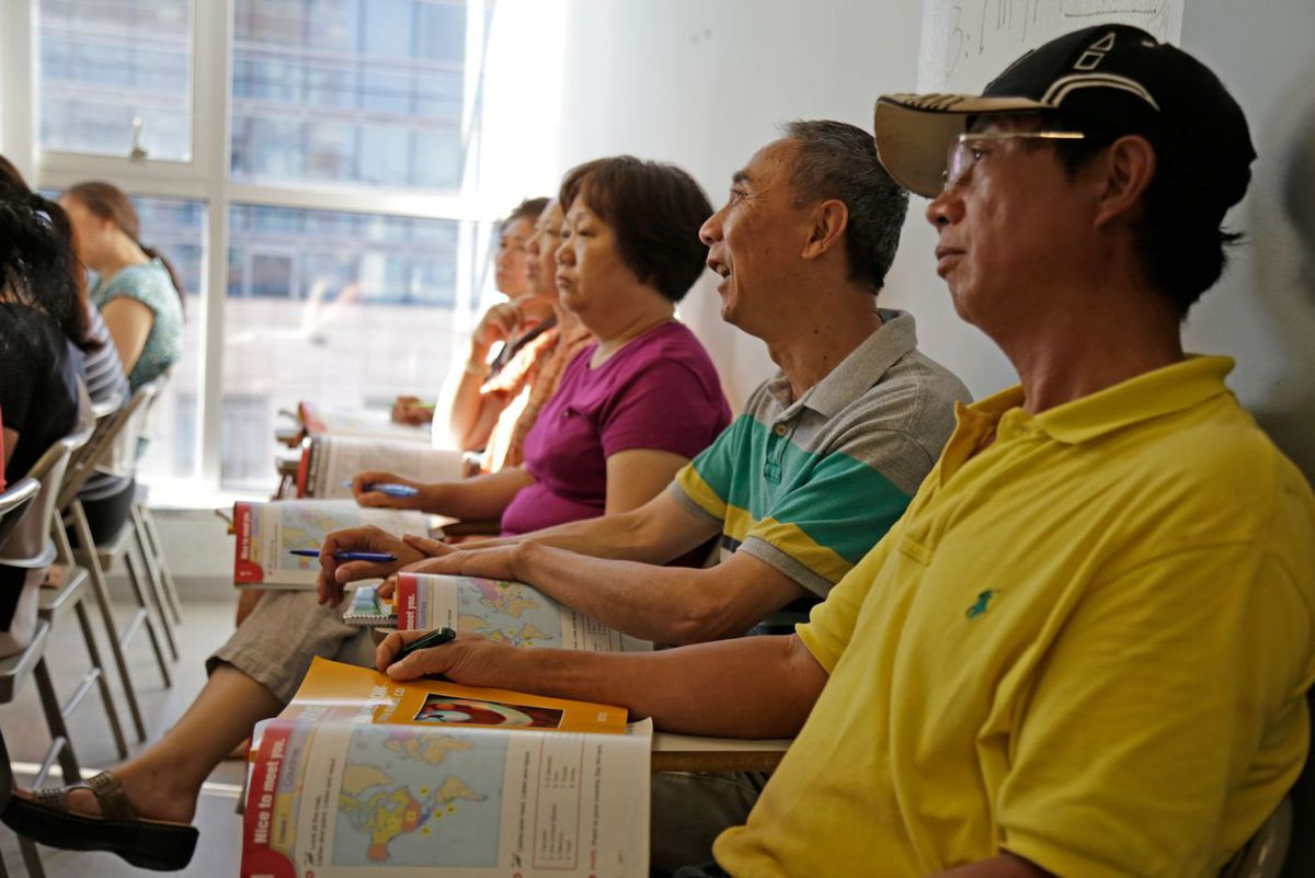The nonprofit Chinese-American Planning Council hosts a literacy class.