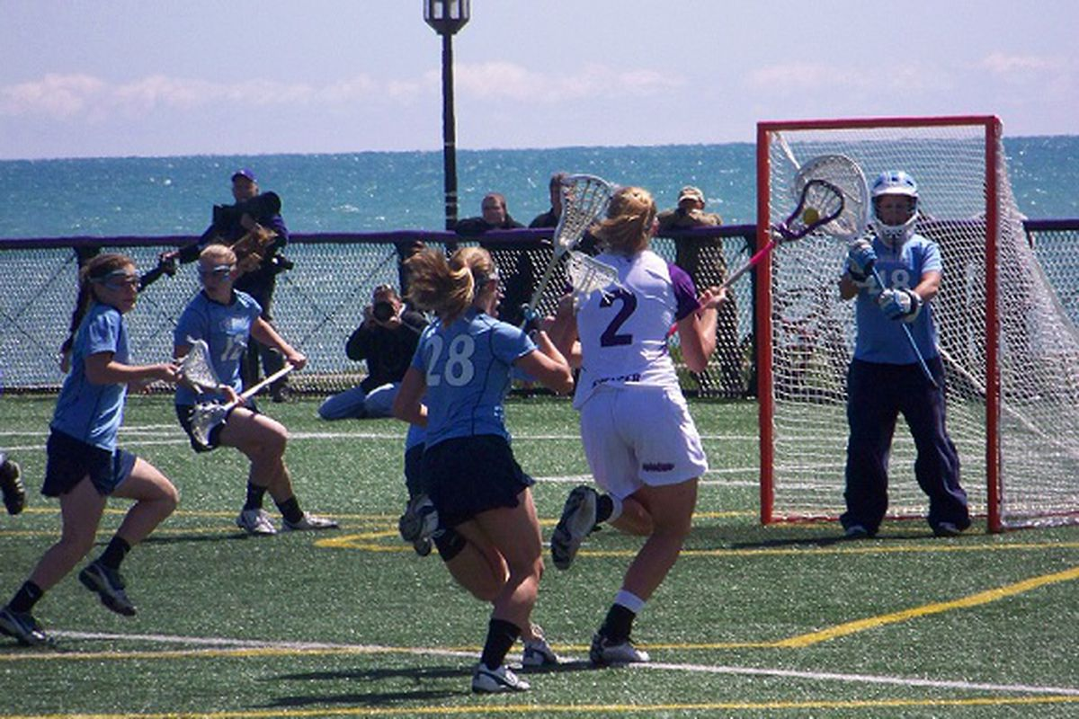 The Northwestern Women's lacrosse team matches up with the North Carolina Tar Heels in a 2010 regular season game.
