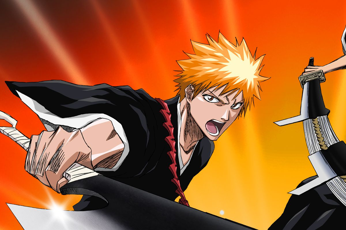 Two characters from Bleach stand with swords drawn