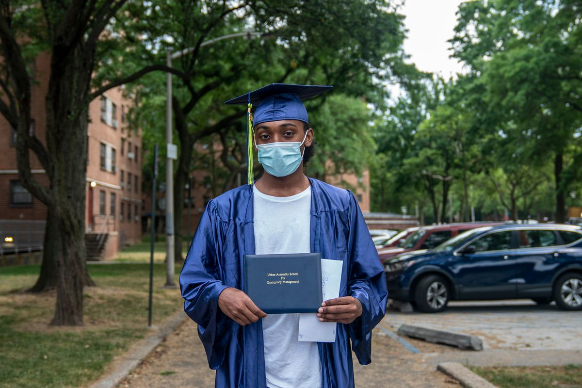 """""""We all arrived together and planned on leaving together but then out of nowhere COVID-19 comes and wipes all that away,"""" said UASEM graduate Pedro Figueroa outside his East New York home, June 25, 2020. """"The best experience of high school is supposed to be graduation, it's incredibly frustrating."""""""
