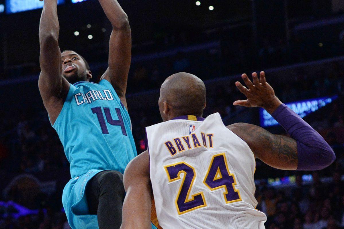 Kobe waves goodbye to the city of Charlotte tonight.