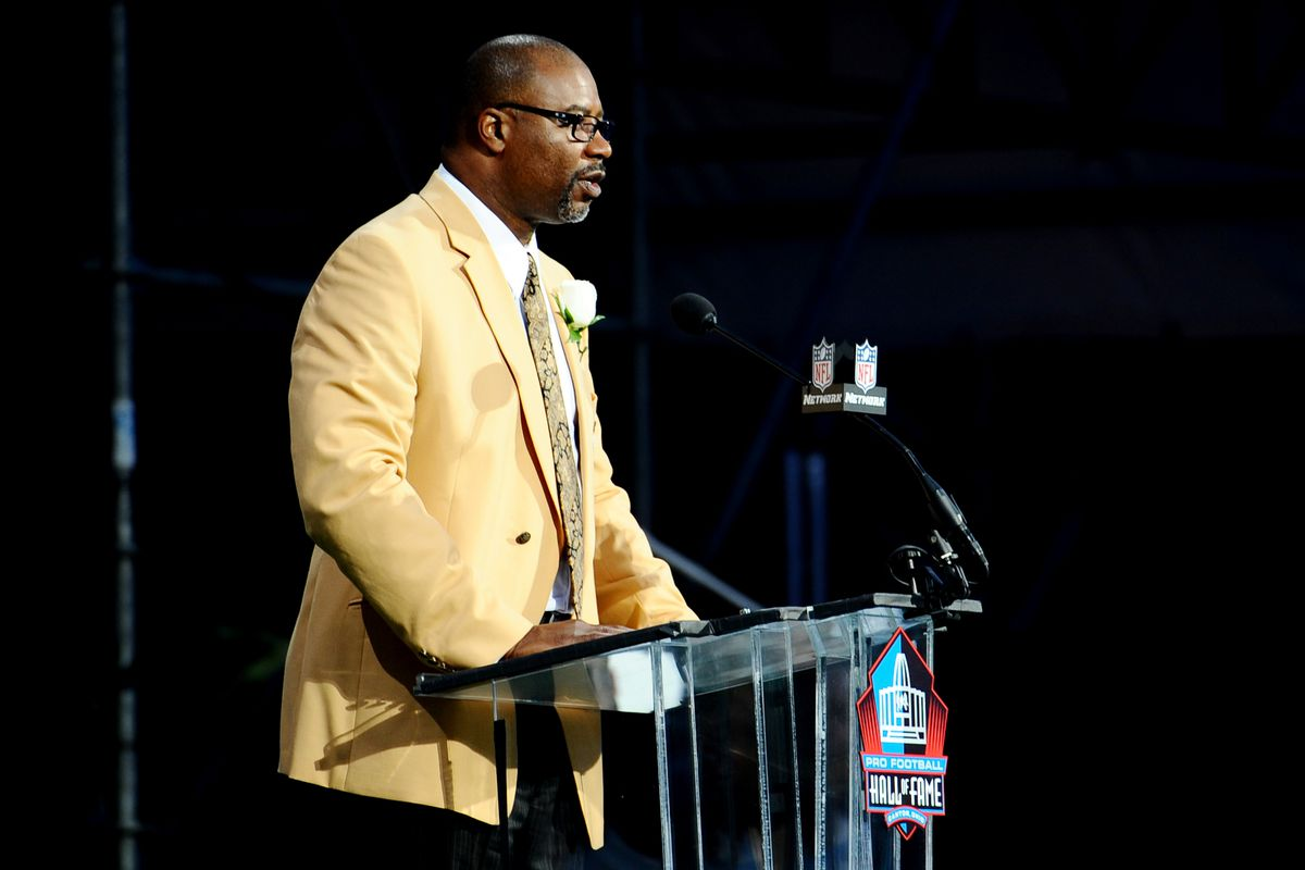 Aug 4, 2012; Canton, OH, USA; Cortez Kennedy speaks at the 2012 Pro Football Hall of Fame Enshrinement at Fawcett Stadium. Mandatory Credit: Tim Fuller-US PRESSWIRE