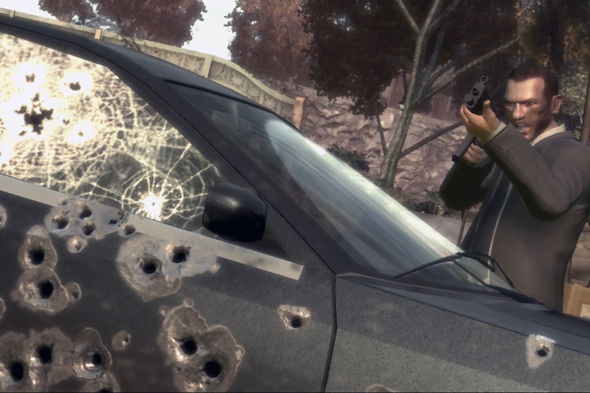 A scene from the video game Grand Theft Auto IV.