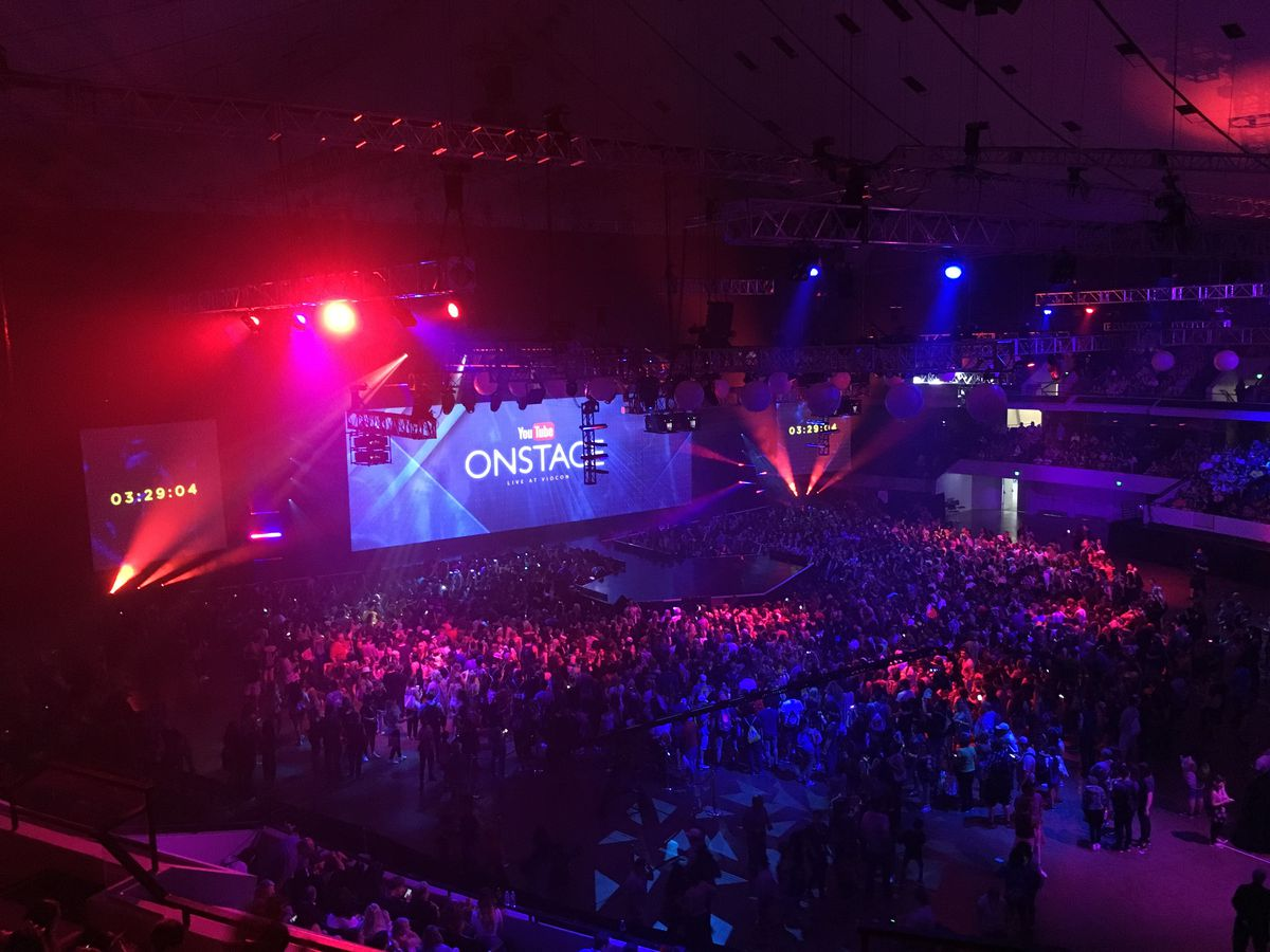 Aerial shot of the YouTube Onstage kickoff concert at VidCon 2017