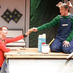 """Boy (Michael Gardner, left) and Mouse (Dustin Bolt) in """"If You Give a Mouse a Cookie."""""""