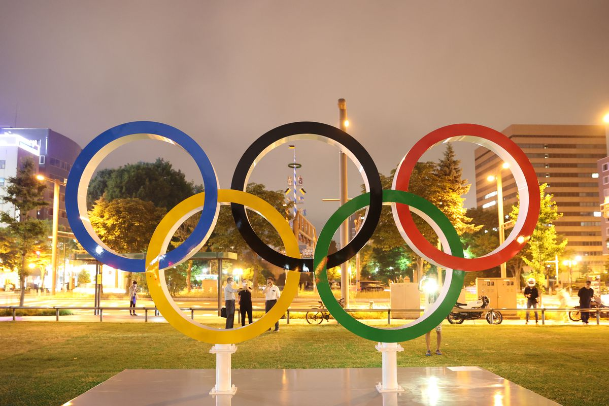 Olympic rings at Odori Park ahead of the Tokyo 2020 Olympic Games on July 20, 2021 in Sapporo Hokkaido, Japan.