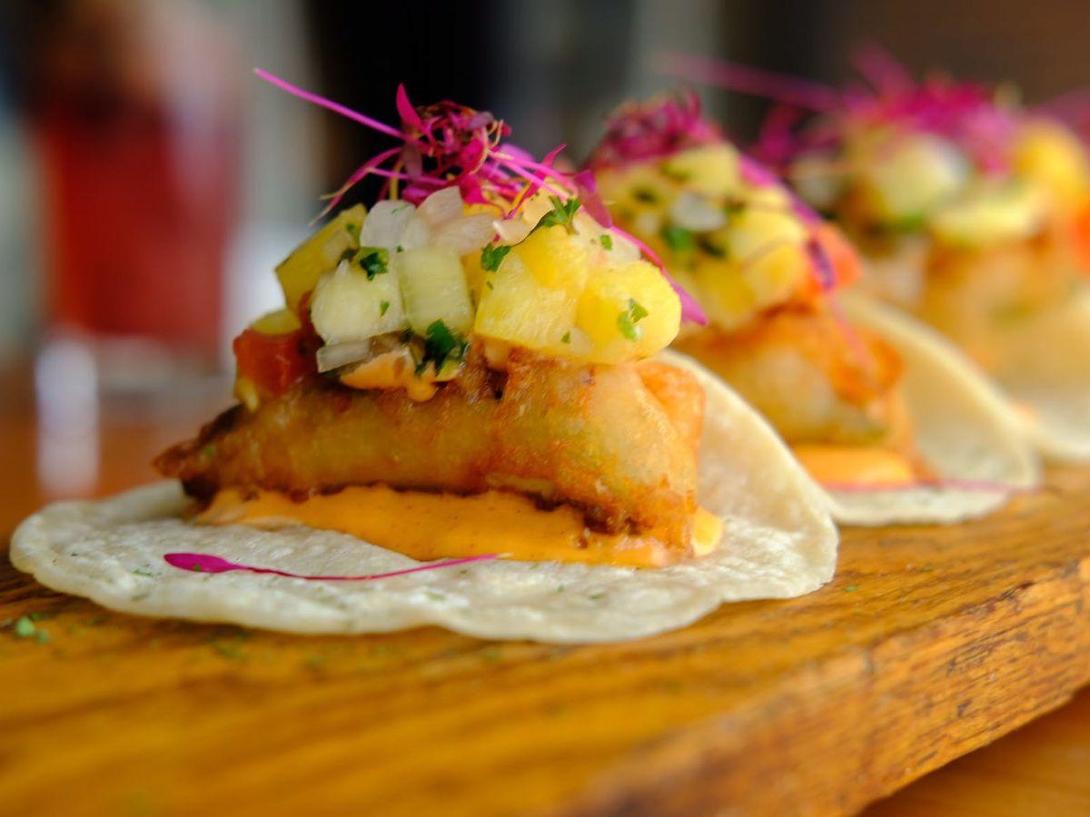 A platter of tacos.