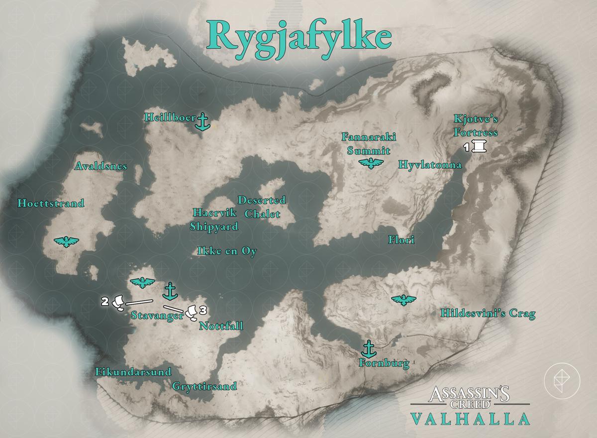 Rygjafylke Artifacts locations map