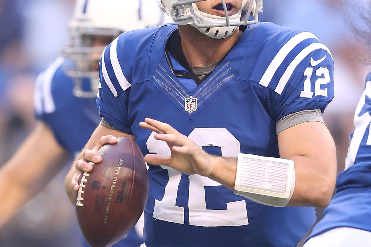 INDIANAPOLIS, IN - AUGUST 30:  Andrew Luck #12 of the Indianapolis Colts looks to throw a pass during the game against the Cincinnati Bengals at Lucas Oil Stadium on August 30, 2012 in Indianapolis, Indiana.  (Photo by Andy Lyons/Getty Images)