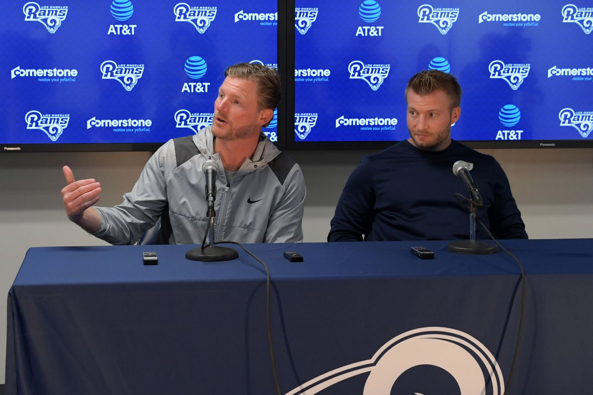Los Angeles Rams General Manager Les Snead and Head Coach Sean McVay during a press conference, Apr. 25, 2017.