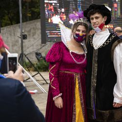 Nina Colucci, 17, of Roselle, dresses as Queen Isabella and Max DeVito, 19, of New Lenox, dresses as Christopher Columbus during the Columbus Day: Italian American Heritage Celebration at Arrigo Park in the Little Italy neighborhood, Monday morning, Oct. 12, 2020.