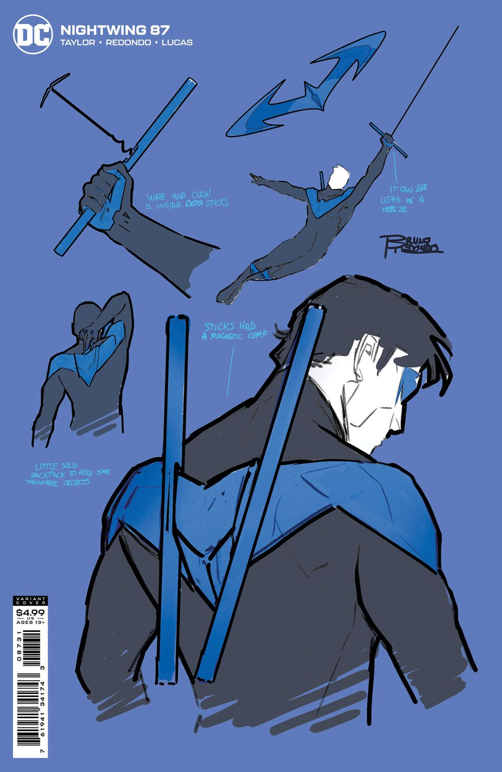 Details of Nightwing's costume and weapons on a variant cover of Nightwing #87 (2021).