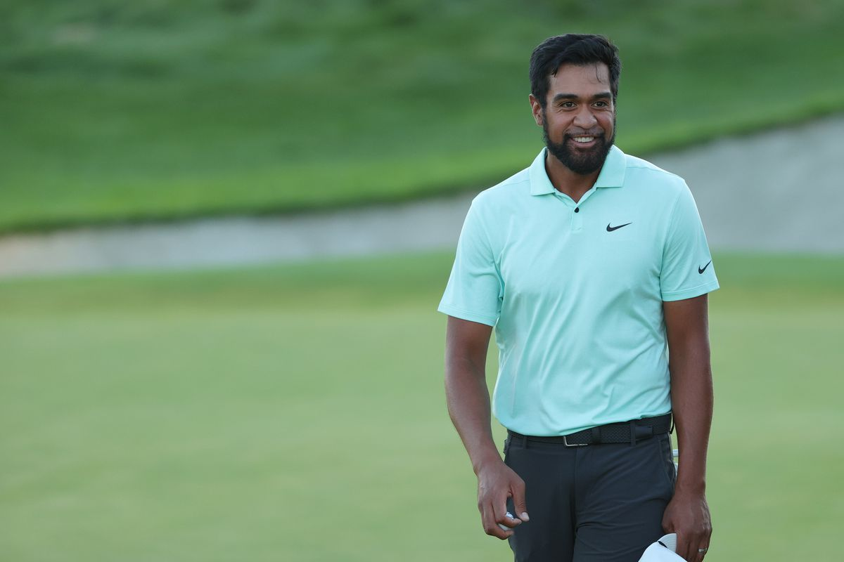 Tony Finau of the United States celebrates winning on the first-playoff 18th hole during the final round of THE NORTHERN TRUST, the first event of the FedExCup Playoffs, at Liberty National Golf Club on August 23, 2021 in Jersey City, New Jersey.