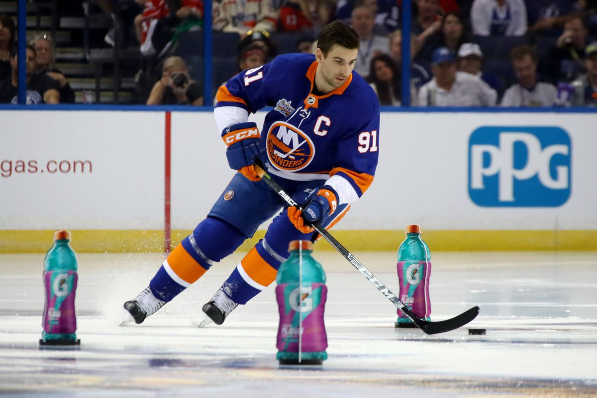John Tavares skates through the Islanders' defense