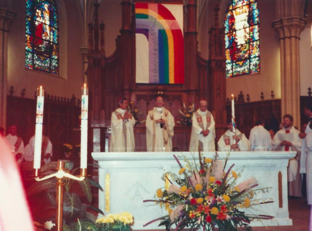 The flag at a 1991 church service.   Provided photo