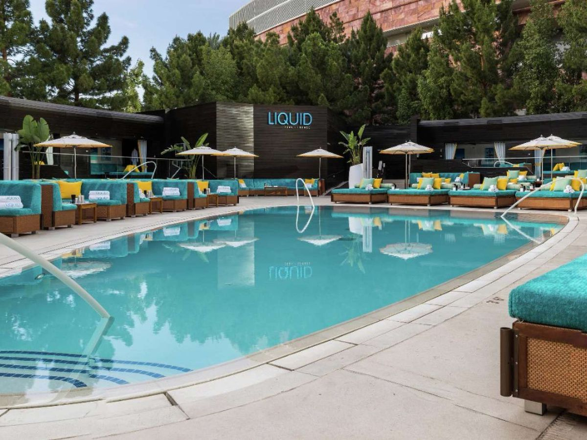 Pool with blue and yellow decor