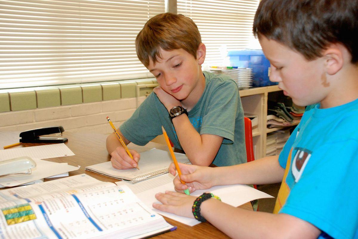Third graders in Pueblo, Colorado work during class.