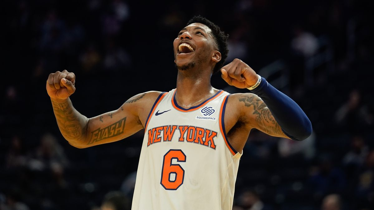 New York Knicks guard Elfrid Payton reacts during overtime against the Golden State Warriors at Chase Center.