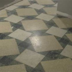 Original terrazzo flooring was refurbished and given a makeover
