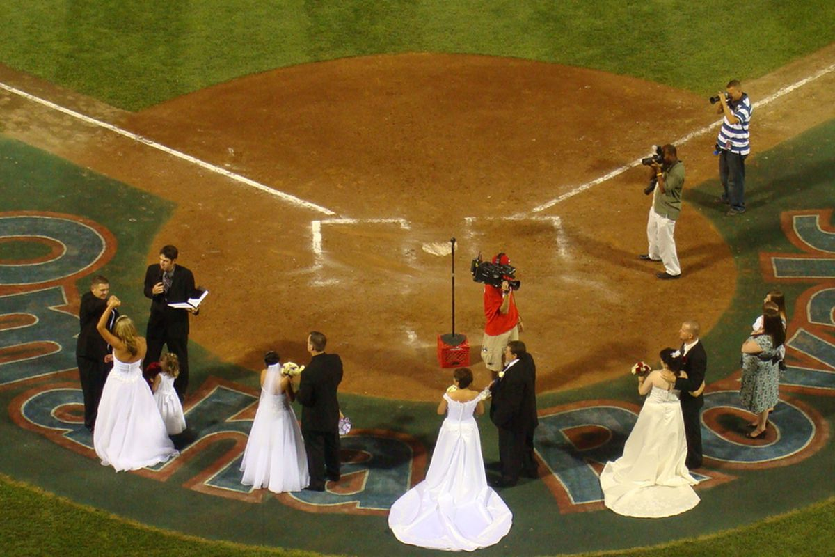 Four couples got married after a minor league game at Rosenblatt Stadium in Omaha in 2009