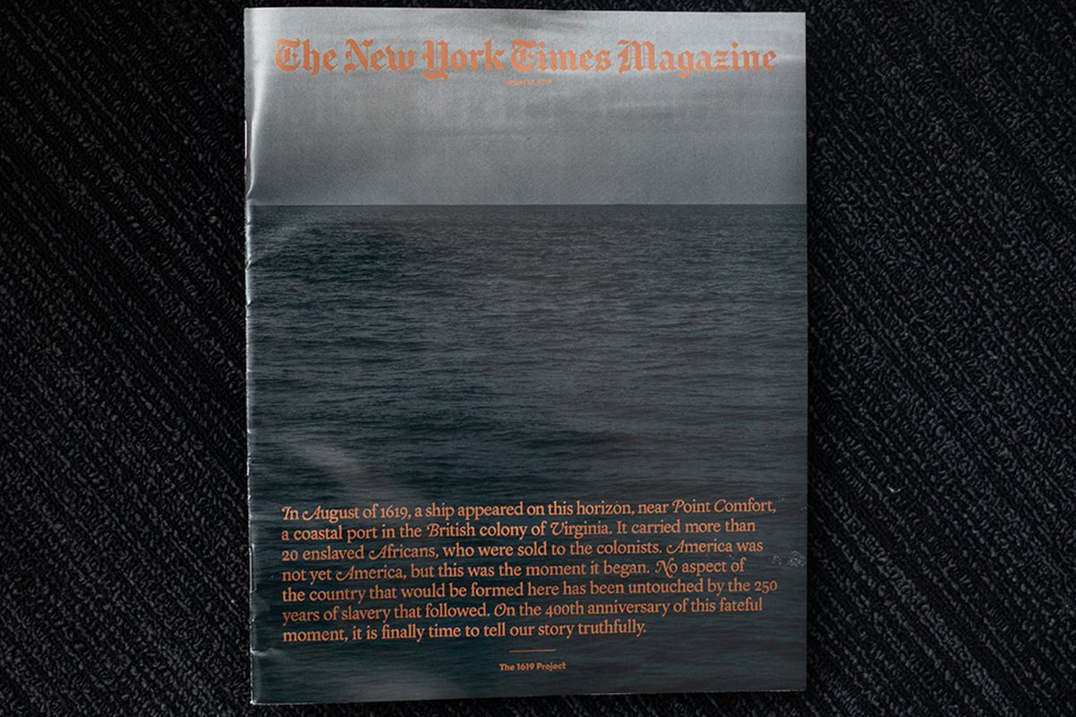 A copy of the 1619 Project edition of The New York Times Magazine.