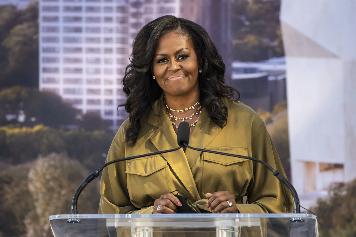 Former first lady Michelle Obama speaks before the groundbreaking for the Obama Presidential Center in Jackson Park on Tuesday.