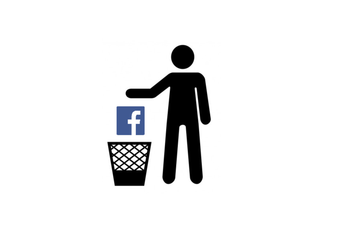 A stick figure person drops the facebook icon into a wastebasket.