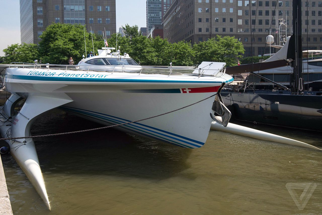 an inside look at the world s largest solar powered boat the verge turanor planetsolar first boat to circle the globe solar power poses for photos in nyc