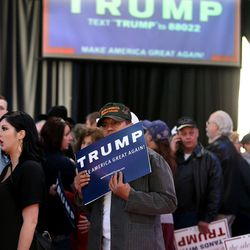 Donald Trump supporters wait for Trump to speak at the Infinity Event Center in Salt Lake City on Friday, March 18, 2016.