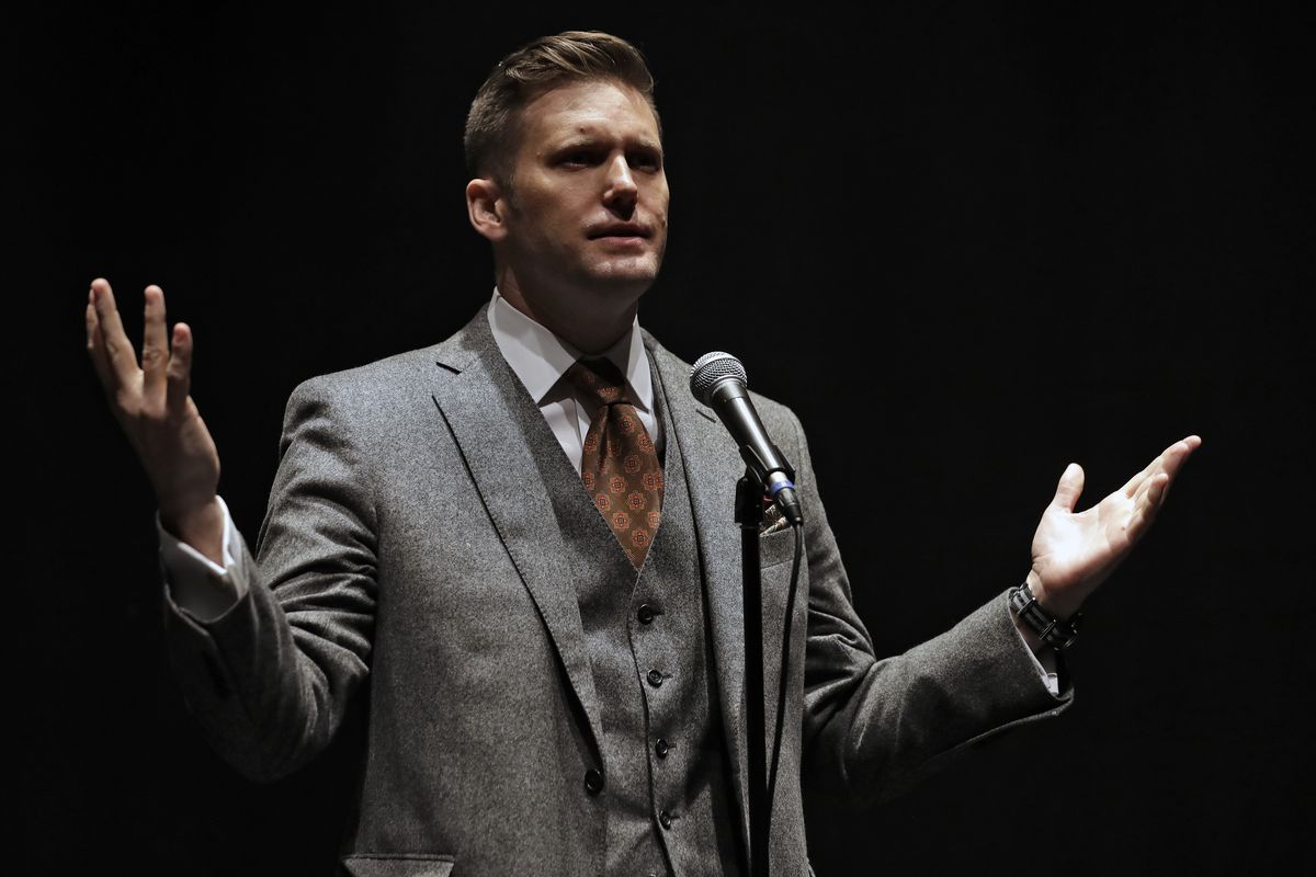 """Richard Spencer, a white supremacist, speaking in 2017 at the University of Florida in Gainesville, has dubbed Bitcoin the """"currency of the alt-right."""""""